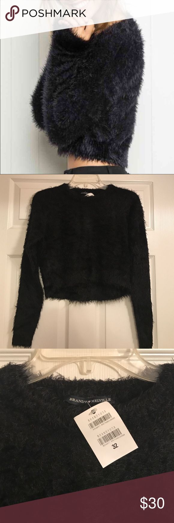 Brandy Melville cropped sweater XS S New with tags fuzzy sweater. Will fit XS-S  . Crew neck. 100% polyamide Brandy Melville Sweaters Crew & Scoop Necks