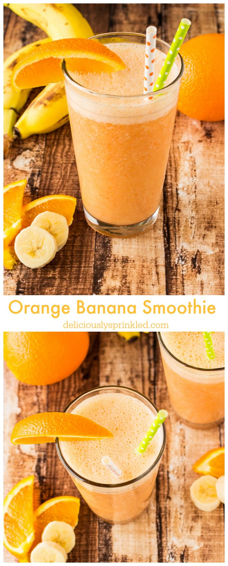 A delicious, healthy Orange Banana Smoothie. I make this smoothie all the time!