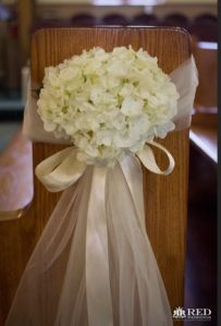 Florals for Weddings and special events - Urban Botanicals Chicago - church pew flowers hydrangea