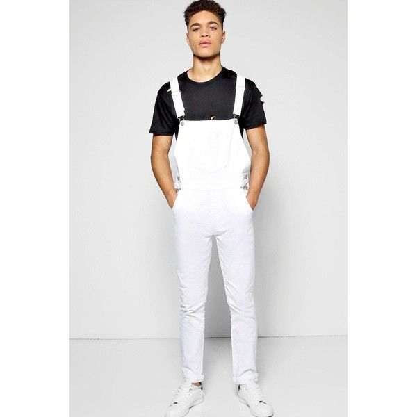 BoohooMAN Blue Slim Fit Denim Dungarees (£35) ❤ liked on Polyvore featuring men's fashion, men's clothing, men's jeans, white, mens slim fit jeans, mens acid wash jeans, mens slim jeans, mens denim jeans and mens white denim jeans