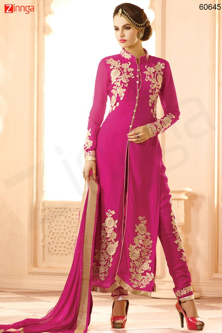 Achkan Style Pink Color with Butta Work Astounding Unstitched Salwar Kameez. Message/call/WhatsApp at +91-9246261661 or Visit www.zinnga.com