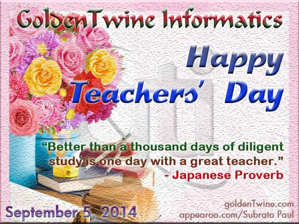 We pay tributes to Sarvepalli Radhakrishnan on his birth anniversary, and wish Happy Teachers' Day to all teachers. Check it out on GoldenTwine Blog: Teachers' Day of India 2014 | Nation pays tributes to Sarvepalli Radhakrishnan on his birth anniversary. http://www.goldentwine.com/blog/teachers-day-of-india-2014 Comments on blog post would be highly appreciated and reciprocated. Thanks!