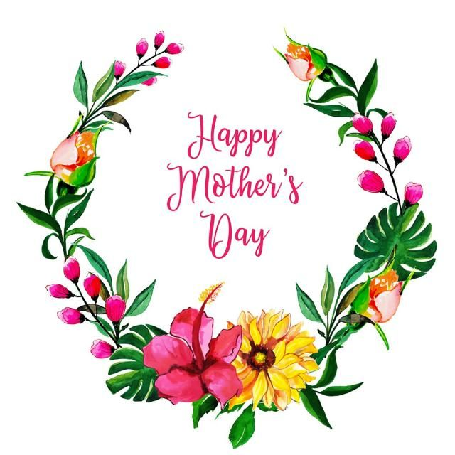 Watercolor Mothers Day Floral Frame Background Happy Mothers Day