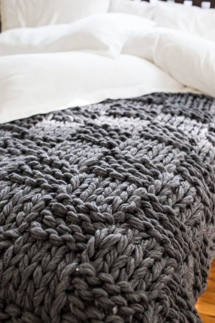 Gorgeous, chunky, arm knit blanket pattern! Make this blanket in under 2 hours to add luxury and lofty warmth to your home. Kits + custom made available.