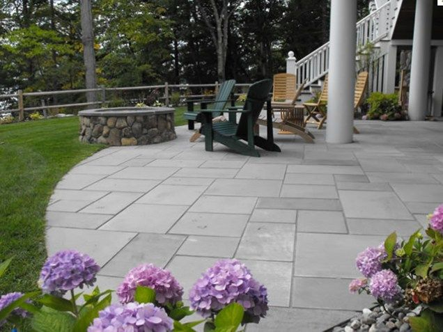 Stone Patio Ideas Backyard patio design ideas Cut Stone Patio Patio Belknap Landscape Co Inc