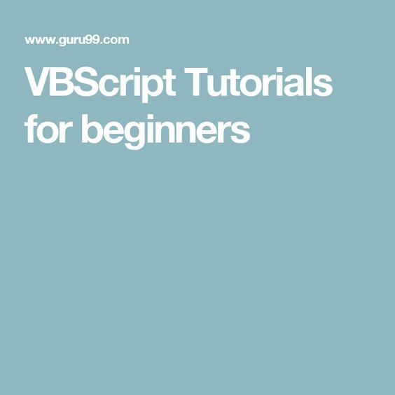 VBScript Tutorials for beginners