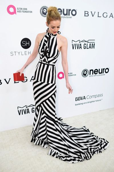 Lydia Hearst Halter Dress - Lydia Hearst looked vibrant in a black-and-white striped halter gown by Tracy Reese at the Elton John AIDS Foundation Oscar-viewing party.