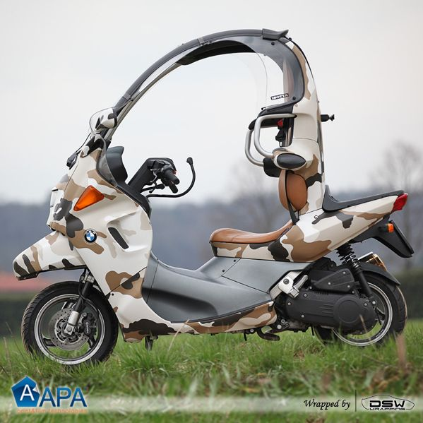 Scooter wrapped with Camouflage Safari #carwrapping #APAfilms #Camouflage #selfadhesive