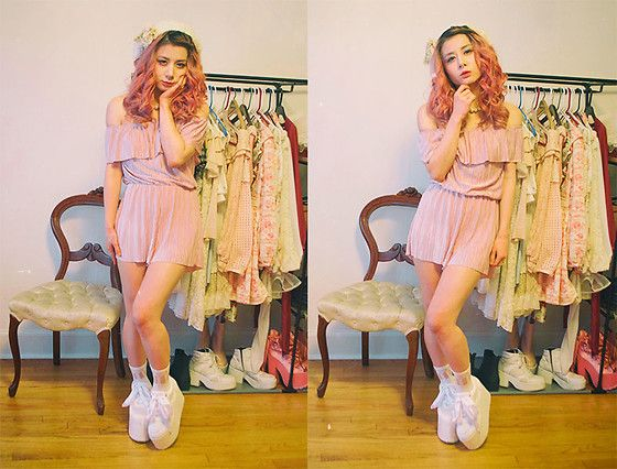 Get this look: http://lb.nu/look/8761545  More looks by Lovely Blasphemy: http://lb.nu/lovelyblasphemy  Items in this look:  Bear Dance Romper, Yru Qozmo Glitter   White, Tralala Pearl Necklace   #chic #classic #romantic #romper #pink #platforms #platformsneakers #anklesocks #beret