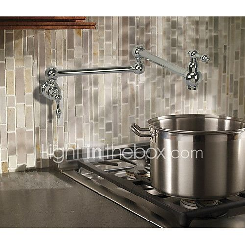Contemporary Art Deco/Retro Modern Pot Filler Centerset Widespread Rotatable with Ceramic Valve Two Handles One Hole for Chrome , - USD $73.79 ! HOT Product! A hot product at an incredible low price is now on sale! Come check it out along with other items like this. Get great discounts, earn Rewards and much more each time you shop with us!