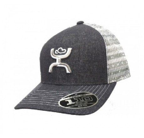 Hooey Storm Grey and White Snap Back Mesh Cap -- 1562T-GYWT