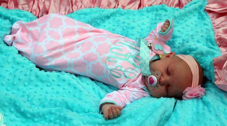 Monogrammed Pink/Aqua Quatrefoil Infant Gown & Paci Clip Set- Baby Gift- Monogrammed Gift- Mud Pie by TheOrangeDoorBoutiqu on Etsy https://www.etsy.com/listing/193799975/monogrammed-pinkaqua-quatrefoil-infant