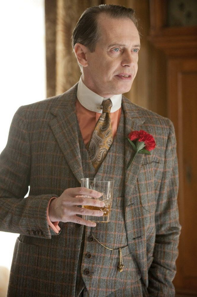 "Because the photography and film of the period were black and white, ""The contemporary eye is not used to looking at the 1920s in color,"" says Dunn. After extensive research, Dunn was able to dress Buscemi in ""the colors a character like Nucky would be wearing.""   (HBO)"