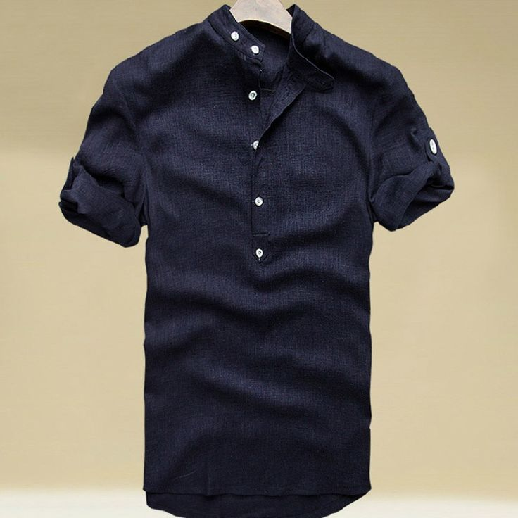 Chinese Style Navy Linen Round Colllar Plus Size T-shirt for Men - iDreamMart.com