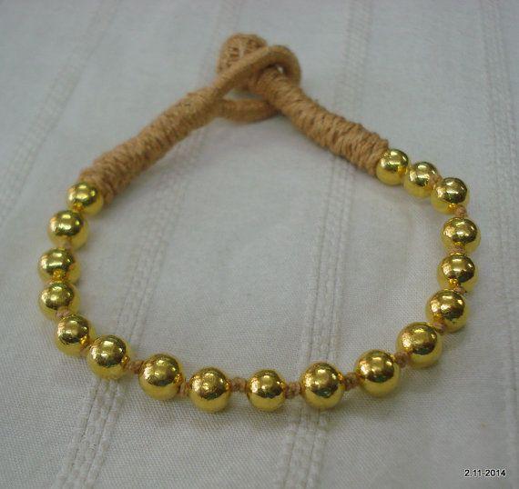or 22k perles bracelet bracelet manchette fait main bijoux tribaux vintage