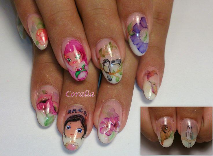 #nails #nailart #cartoons #aquarelle #handpainted