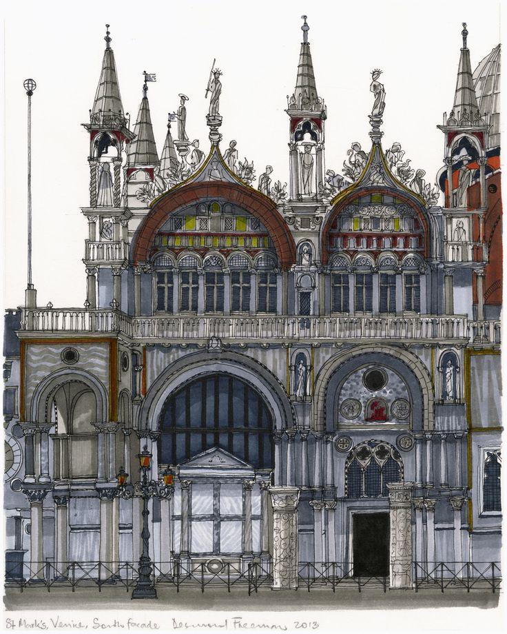 St Mark's South Facade, Venice. #Venice #St Mark's #Architecture #Art #Drawing #Prints