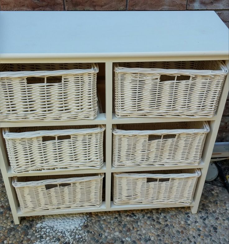 BEFORE - These storage baskets were looking tired and daggy.