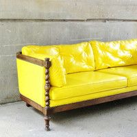 Wood Trimmed Yellow Sofa