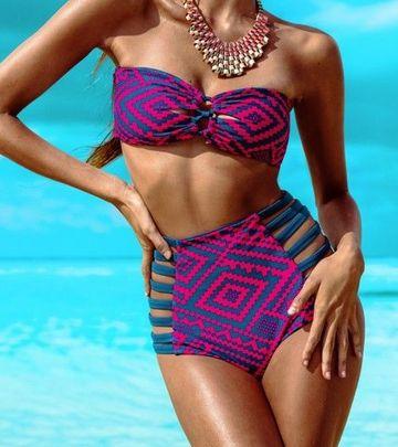 μαγιό-ρετρό-sexy-swimsuit-rosy-blue-geometry-bandage-beach-παραλία-καλοκαίρι-summer-wear