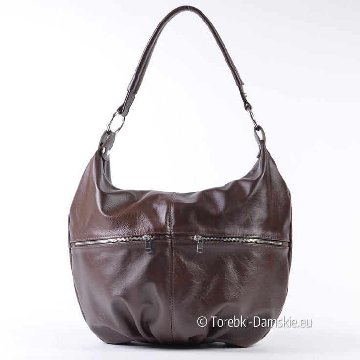 Skórzana torba produkcji polskiej, ciemny odcień koloru brązowego - coffee. Mieści A4. Sprawdź promocyjną cenę -> Kliknij http://torebki-damskie.eu/skorzane/1463-skorzany-brazowy-worek-torebka-ciemny-odcien.html