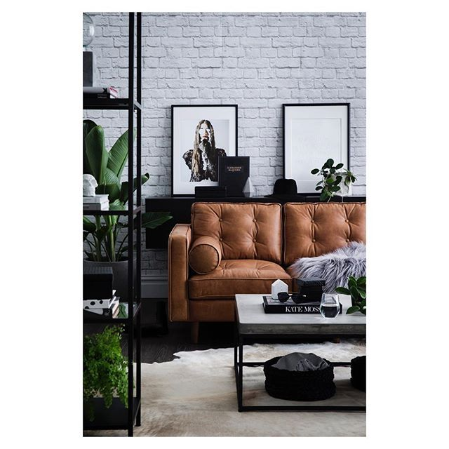 Leather, Bricks and for this months @homesplusmag Styling by @corina_koch_stylist Assisting by @kate_leabeater_stylist @henriettegabreal @woollen_collective Thanks to all suppliers- really wanting this lounge! Tap for product details.