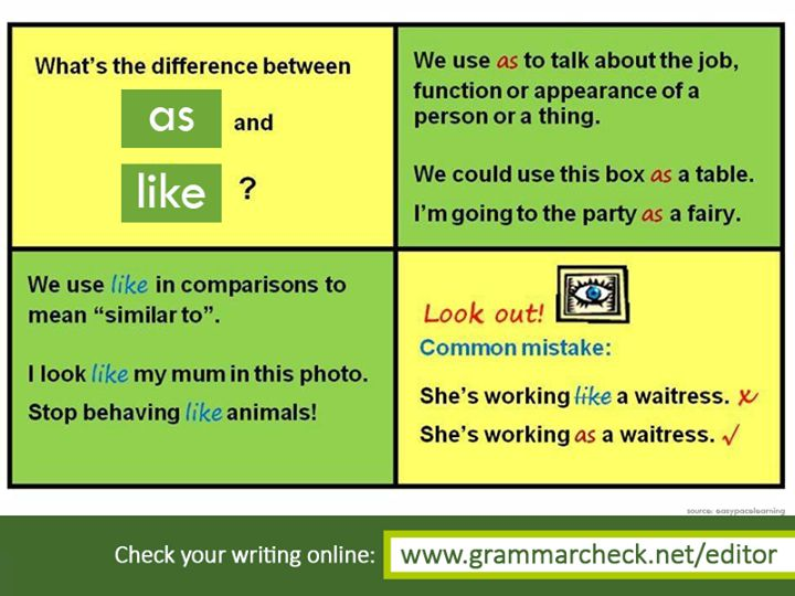 "English Grammar - When do we use ""as"" and ""like""?"