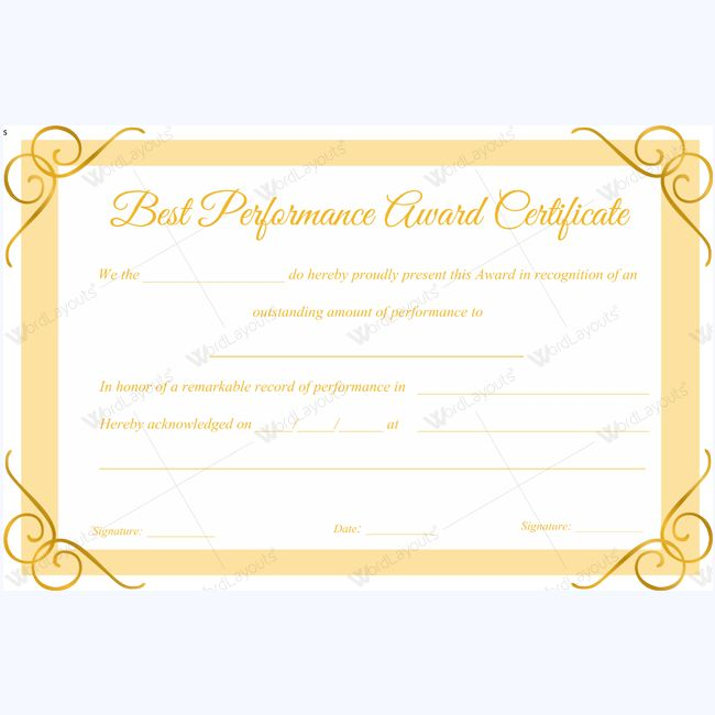 Best Performance Award Certificate Template For Employee - award certificates templates