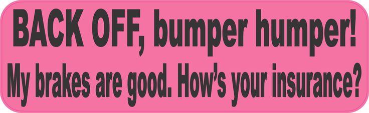 10in x 3in Pink Back Off Bumper Humper Sticker Truck Window Vinyl Decal