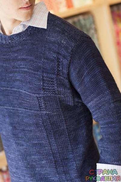 Мужской пуловер спицами. - Свитера,пуловеры,куртки. - Вязание для мужчин - Рукоделие - Страна рукоделия