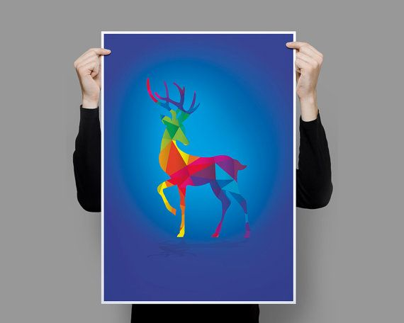 Deer Geometric Animals Collection Art Print by OscarRoxie on Etsy
