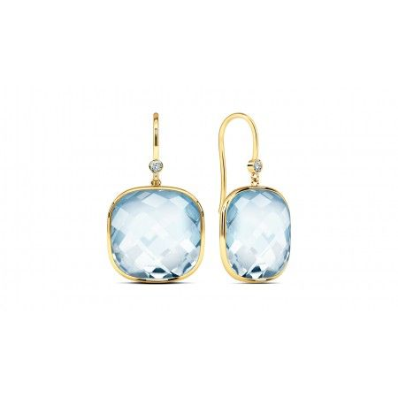 A calming pair of earrings that match the serene blue of topaz with the warmth of gold and diamonds.