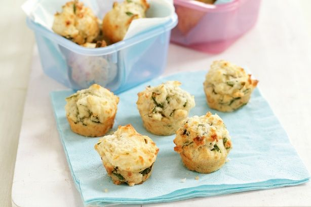 Spinach and cheese muffins -- Get the kids in the kitchen to make these savoury muffins for their school lunchbox.