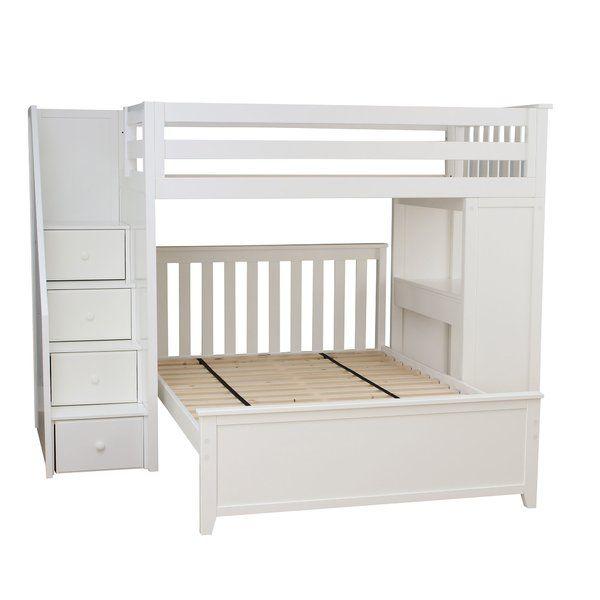 Alvarez Staircase Combo Twin Over Full L Shaped Bunk Bed L Shaped Bunk Beds Bunk Beds Beds For Small Rooms