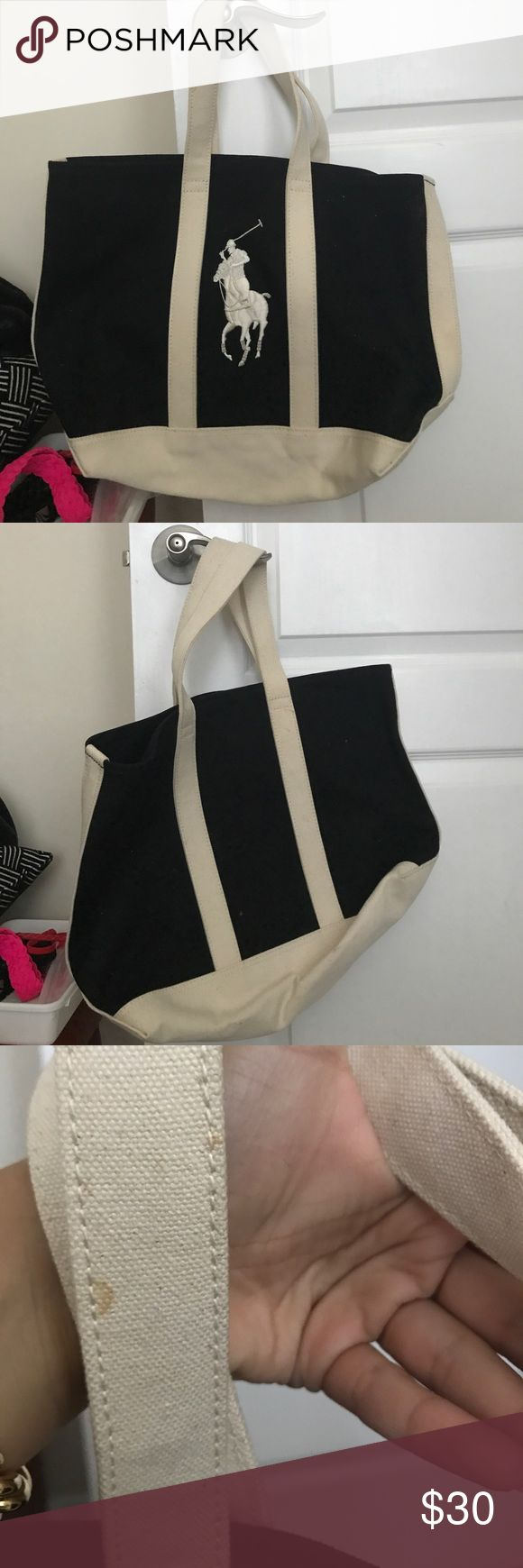 EUC POLO RALPH LAUREN CANVAS TOTE BAG!!! NEVER WORN POLO RALPH LAUREN Canvas Tote Bag! Adorable for all year round wear! One small stain pictured...never used! Open to offers! Polo by Ralph Lauren Bags Totes