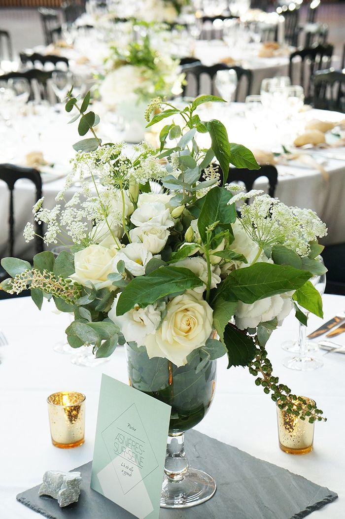 Mariage Vegetal & Mineral- Design Dessine-moi une etoile - Fleurs Aude Rose - Centre de table Ardoise