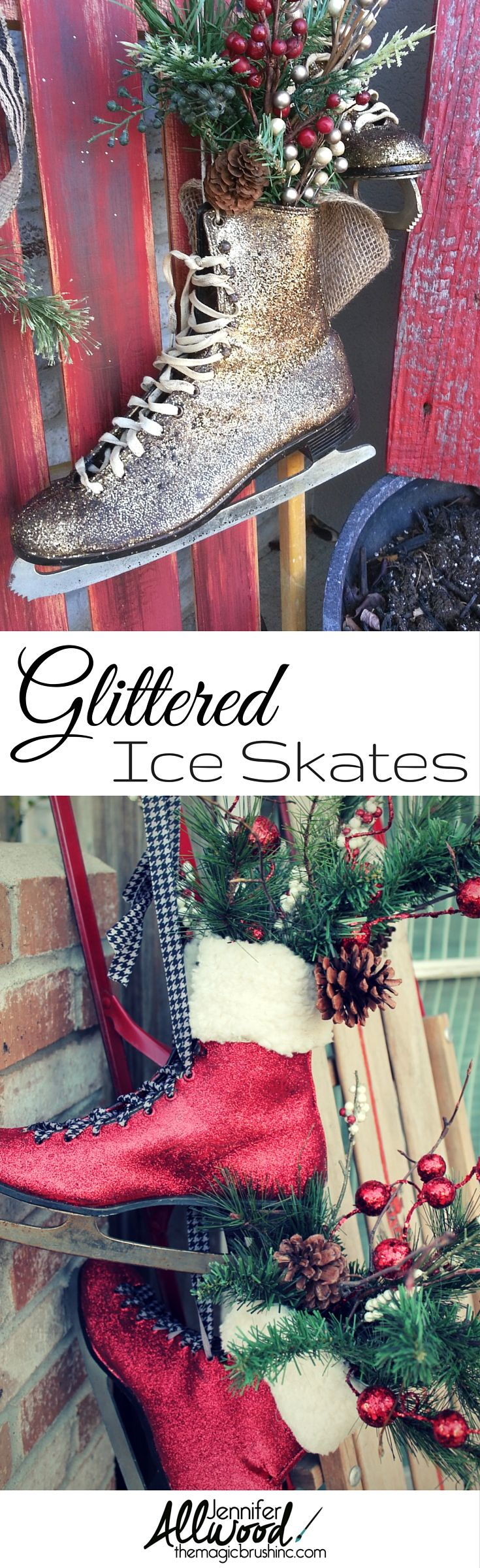 How to make christmas centerpieces with ice - Glittered Ice Skates As Christmas And Winter Decor