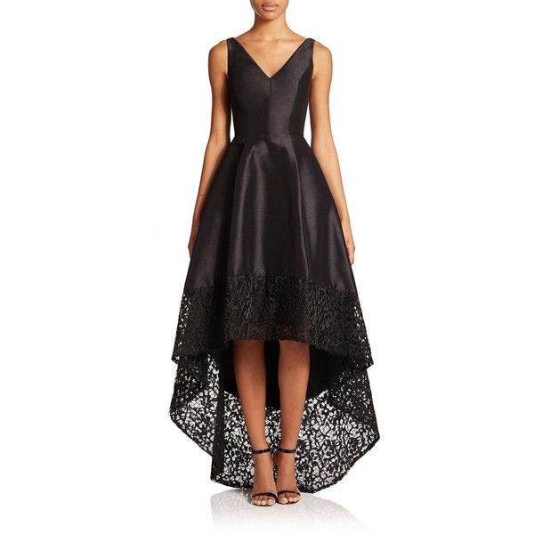 ML Monique Lhuillier V-Neck Hi-Lo Dress ($730) ❤ liked on Polyvore featuring dresses, gowns, apparel & accessories, black hi low dress, hi low dress, hi lo dresses, black ball gown and embroidered dress