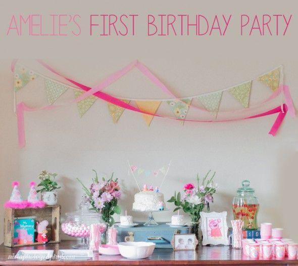 Ideas para la fiesta de cumpleaños de una bebé de un año. Primera fiesta de cumpleaños. Peppa la Cerdita.