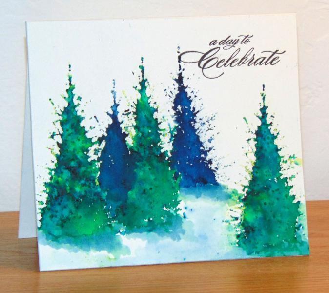 Sapins Brusho bleu et vert by Micheline Jourdain - Cards and Paper Crafts at Splitcoaststampers