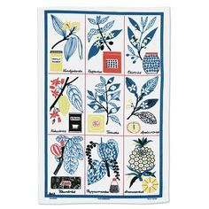 A Vintage Print Tea Towel Featuring A Design By Louise Fougstedt From The  1950u0027s Available From
