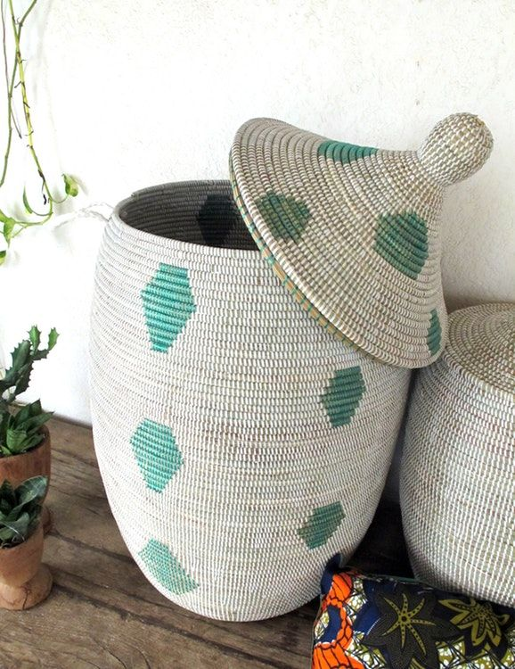 Laundry Basket Xl In White With Green Pattern Laundry Hamper