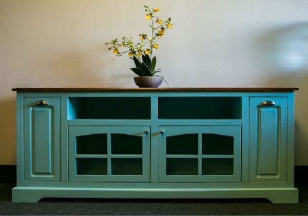 Sea Breeze Collection - Solid Wood Turquoise TV Console. Choose your color!