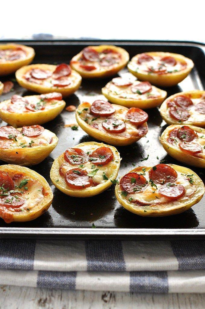 Μίνι πίτσα σε φλούδα πατάτας Marilenas Recipes