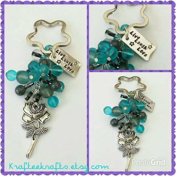 Live Laugh Love keyring, hand-stamped, beaded keychain, family gifts, gifts for friends, quotes, Mother's day gifts, gifts for mums
