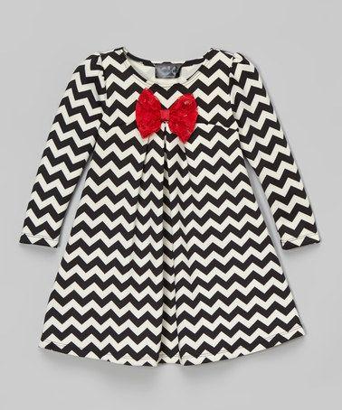Look what I found on #zulily! Black & White Chevron Swing Dress - Infant, Toddler & Girls #zulilyfinds