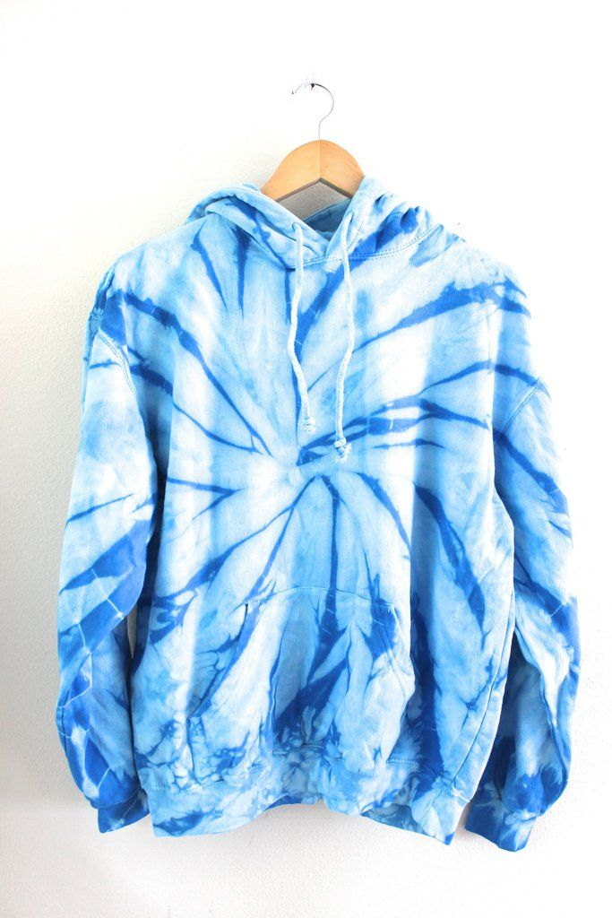 Medium blue and light blue swirls tie-dye, 80% cotton/20% polyester sweatshirt hoodie with adjustable drawstrings, and a front pocket. Please note: Each tie-dyed hoodie is hand dyed and slightly uniqu