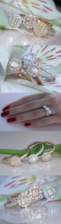 Beautiful Stacking Diamond Rings, 1,38 cts. G-VS/SI, WGRGYG-18K - Visit: schmucktraeume.com - Like: https://www.facebook.com/pages/Noble-Juwelen/150871984924926 - Contact: info@schmucktraeume.com