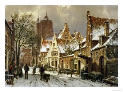 A Winter Street Scene - Willem Koekkoek