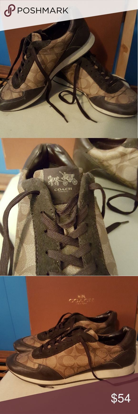 Coach sneaker Lightly worn coach sneakers. Dark brown and tan. Coach Shoes Sneakers
